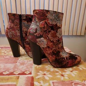 Burgundy floral heel booties